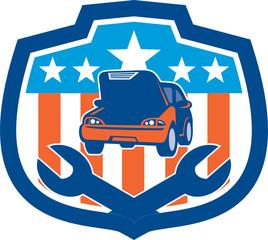 Car Repair Spanner Shield Retro