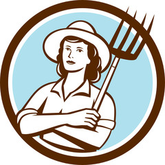 Female Organic Farmer Pitchfork Circle Retro