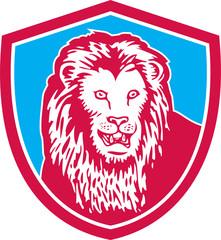 Lion Big Cat Head Shield Retro