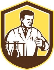 Scientist Lab Researcher Chemist Shield Retro