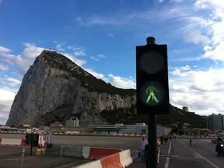 Fußgänger Ampel vor dem Fels von Gibraltar