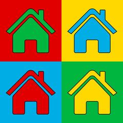 Pop art home icon