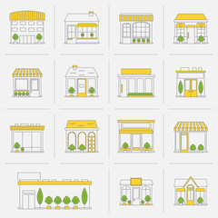 Store building icons set flat line