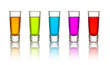 Five colorful vodka shots