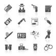 Detective icons set black