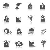 Natural disaster icons black