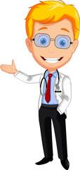 doctor cartoon presenting