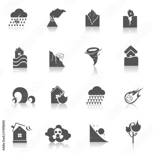Natural disaster icons black - 70918692