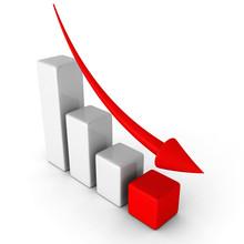 """Постер, картина, фотообои """"business decline chart graph with falling arrow"""""""