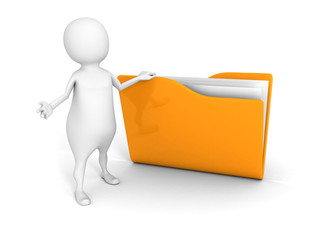 white 3d man with yellow document folder