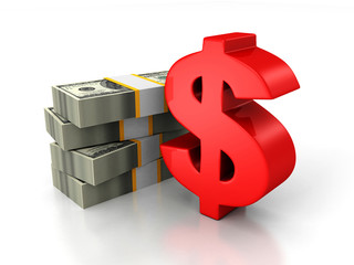 red dollar sign and bundle of money paper currency