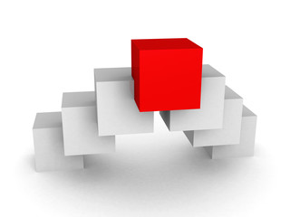 Different red cube leader on white background