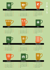 Monthly calendar 2015 with mugs,  English