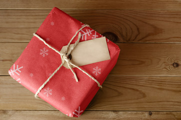 String Tied Red Christmas Parcel