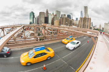 Traffic on Brooklyn Bridge, Lower Manhattan in Background