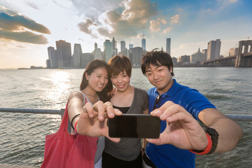 Japanese Tourists taking Selfie in New York