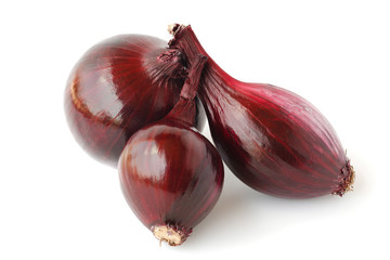 Red onions isolated on white background