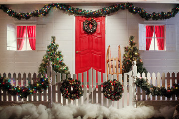 Christmas front door of a country house background.