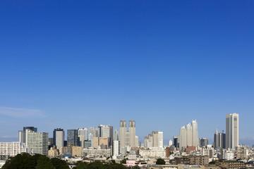 快晴青空 新宿高層ビル群を一望する