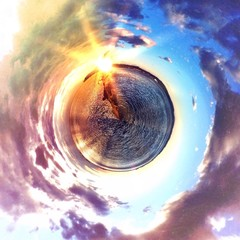 Abstract circular view of Trieste sea sunset