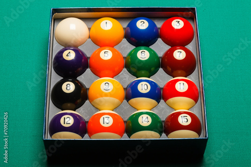 Staande foto Full set of snooker balls inside an hard paper box