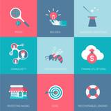 Flat start up business design icons set pitch big idea funding poster