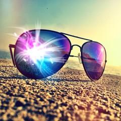 magic sunset on nostalgic glasses