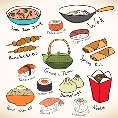 Asian food vector collection