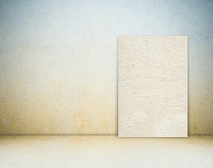 Blank wood board and cement wall, template.