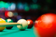 Billiard balls in a pool table. - 70921488