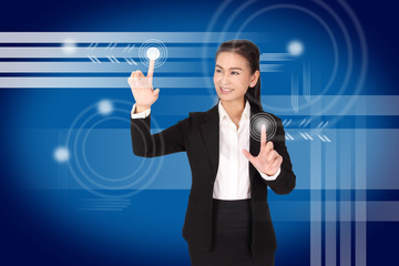 hand of business woman pushing a button on a touch screen interf