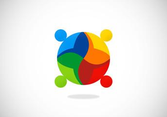 diversity people teamwork color vector logo