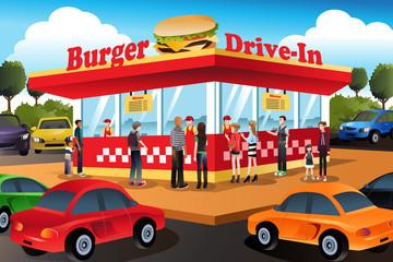 People ordering hamburger at a drive-in hamburger restaurant