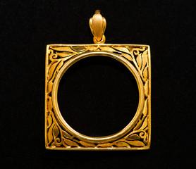 gold locket frame pendant