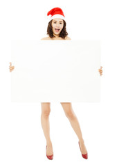 pretty young woman holding a empty white board.