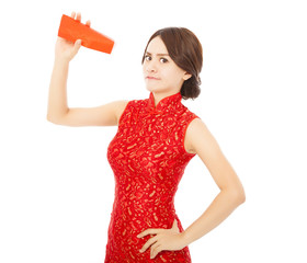 asian young woman anger and holding a empty red envelope