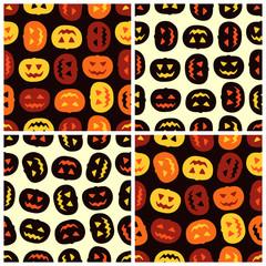 Four Halloween pumpkins seamless patterns set