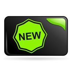 nouveau sur bouton web rectangle vert