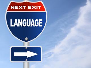 Language road sign