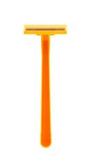 Orange shaving razor isolated on white background