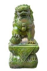 Emerald lion statues