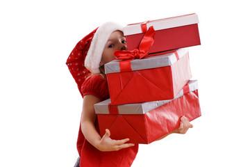 kleines Mädchen mit Geschenken