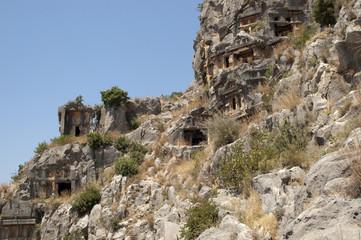 Rock-cut tombs in Myra, Demre, Turkey, Scene 1