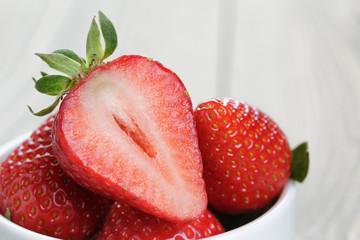 ripe strawberries in bowl