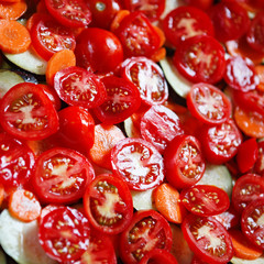 Sliced tomatoes for cooking.