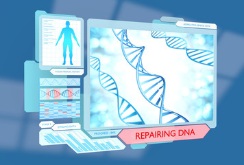 Science concept of DNA repair via advanced medical technology