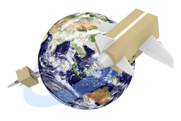 Global shipping concept, parts of this image furnished by NASA