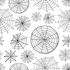 Seamless pattern with spiderweb, Halloween background