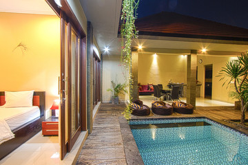 Tropical villa with a pool.