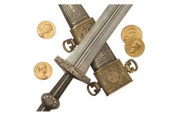 Roman Empire Dagger and Denarii Coin Replicas